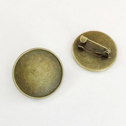 10 Supports cabochons Broche rond 20mm BR002